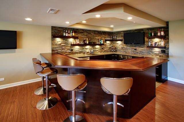 Home Bar Design Ideas Houzz: St. Charles, Il Basement And Bar