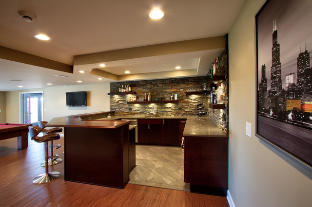 St Charles Il Basement And Bar Contemporary home bar