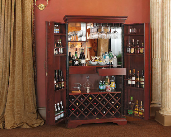 St. Helena Hide-A-Bar in Dark Cherry - Your favorite bar is right in your own home with the St. Helena Hide-A-Bar. This beautiful double-door armoire opens to reveal a self-contained bar with everything you need to entertain a crowd or for a romantic drink a deux.