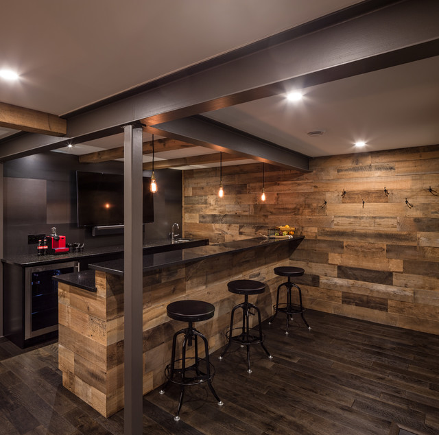 Seated Home Bar Rustic Galley Dark Wood Floor Idea In Ottawa With