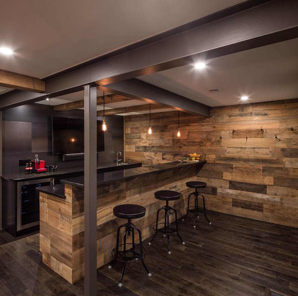 Seated home bar - rustic galley dark wood floor seated home bar idea in Ottawa with an undermount sink