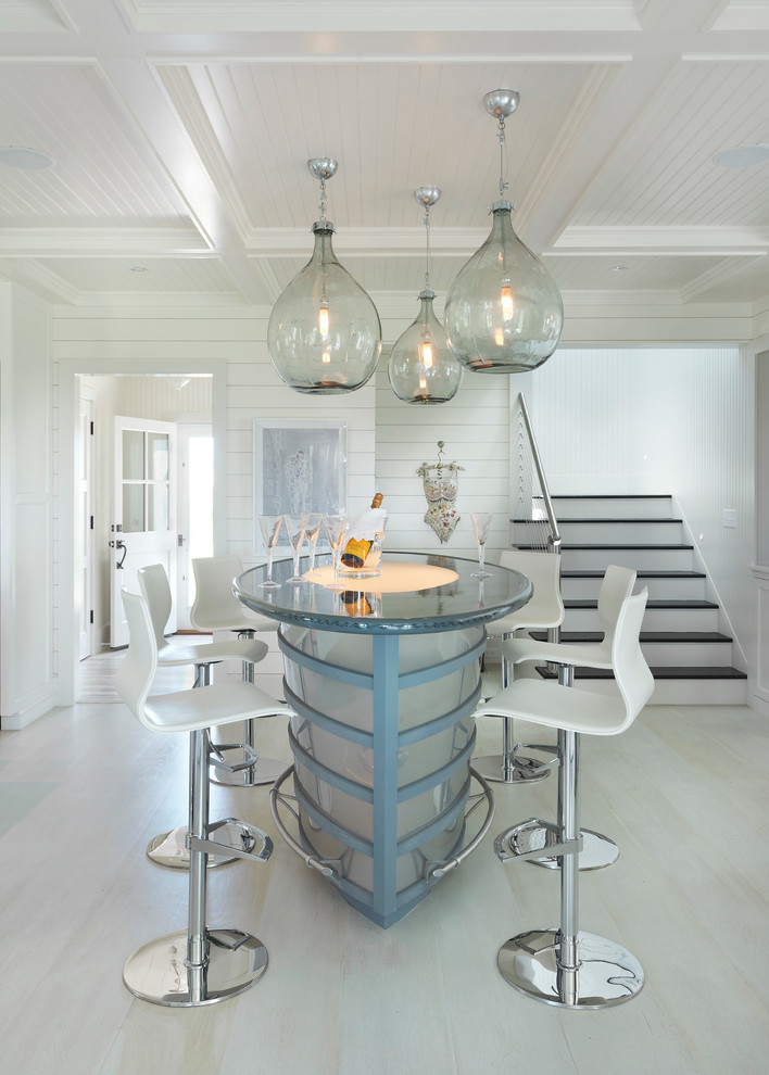 Beach style white floor seated home bar photo in Boston with no sink