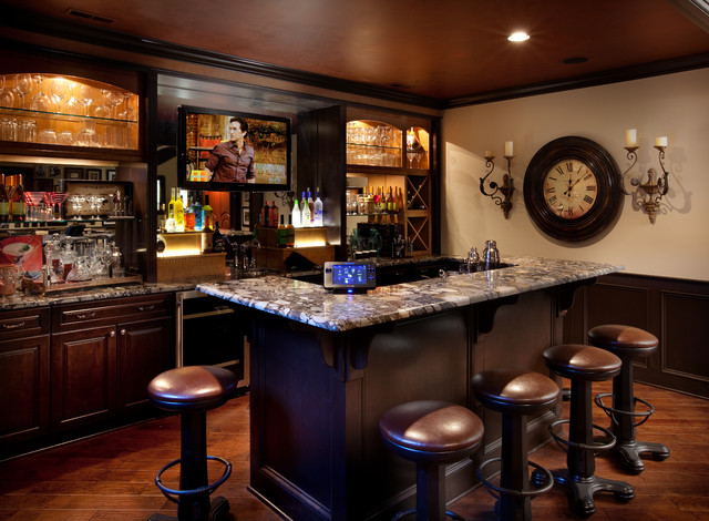 Inspiration For A Timeless Galley Dark Wood Floor And Brown Seated Home Bar Remodel In