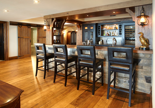 Rustic Basement Wet Bar