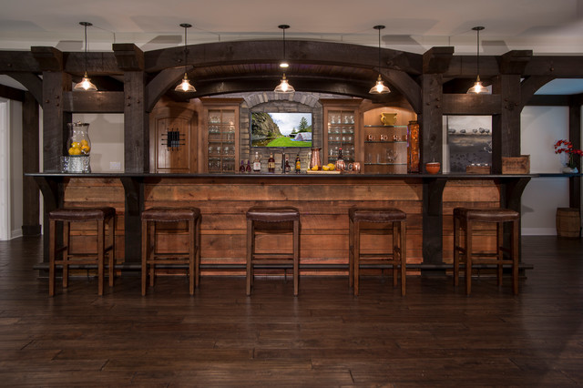 Timber frame bar finished basement rustic basement for Rustic finished basement