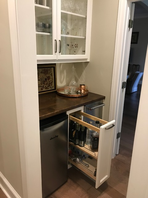 Inspiration For A Small Traditional Single Wall Wet Bar In Other With No Sink