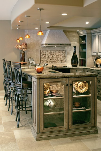 Traditional Kitchenette And Fireplace Cabinets Traditional Home Bar