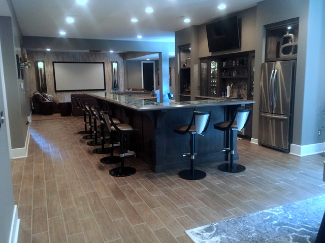 Transitional Carmel House Home Bar