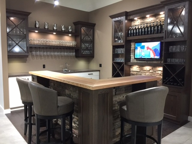 White Home Bar Furniture. Oak And Antique White Wet Bar With Cultured Stone  Accents Transitional