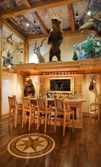 Trophy Room Rustic Home Bar New York by Heather DeMoras