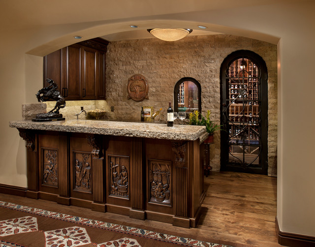 Tuscan inspired home in paradise valley mediterranean home bar phoenix by la casa - Pictures of bars in houses ...
