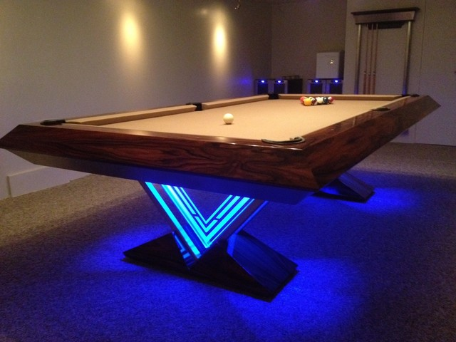 Vue pool table by mitchell exclusive billiard designs for Exclusive dining table designs