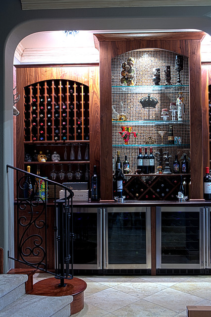 Walnut Wine Room Traditional Home Bar Houston By Texas Woodworks