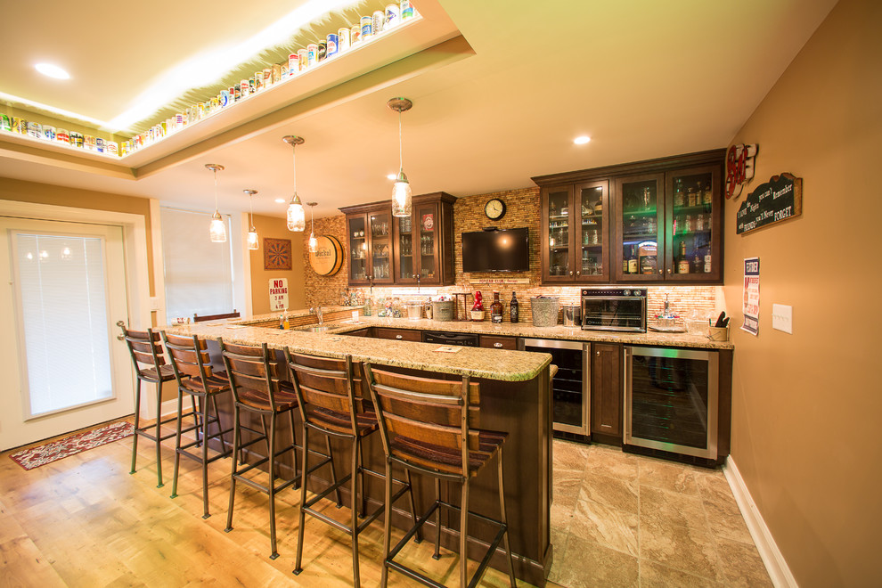 Seated home bar - large rustic u-shaped ceramic tile and brown floor seated home bar idea in Philadelphia with an undermount sink, shaker cabinets, dark wood cabinets, granite countertops, brown backsplash and matchstick tile backsplash