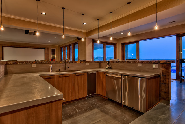 West Omaha Lakefront Home Contemporary Home Bar Omaha By Eurowood Cabinets Inc