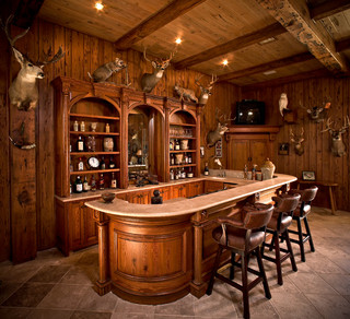 West Texas Traditional Ranch Rustic Home Bar Houston