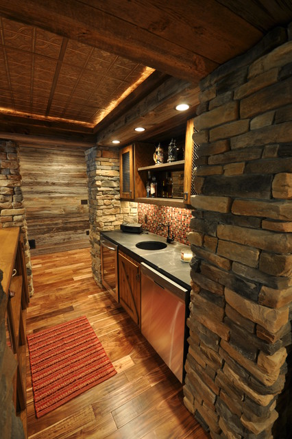 Western Themed Basement Rustic Home Bar Other By