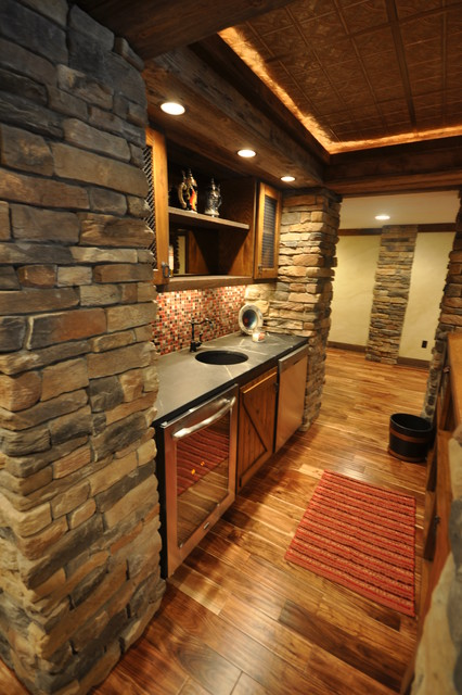 Western Themed Basement Rustic Home Bar Other By Hendolhurst
