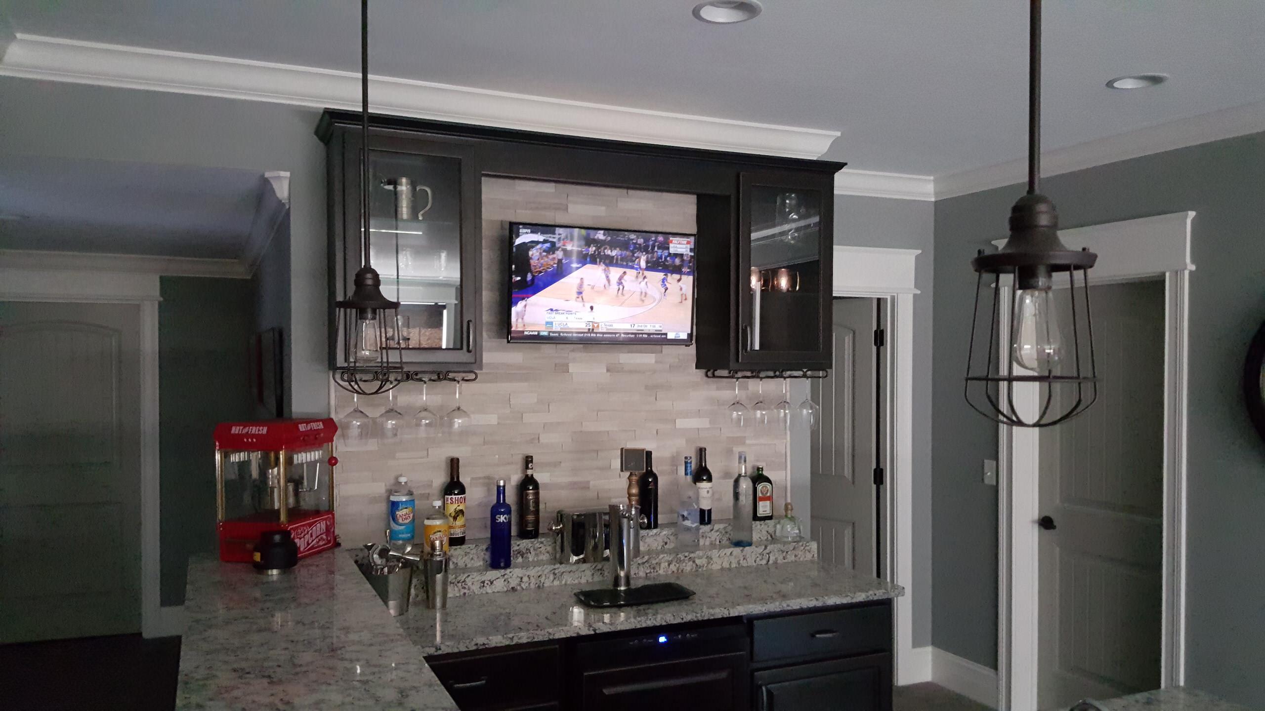 "Westfield, IN - 32"" Panel TV above Basement Bar"