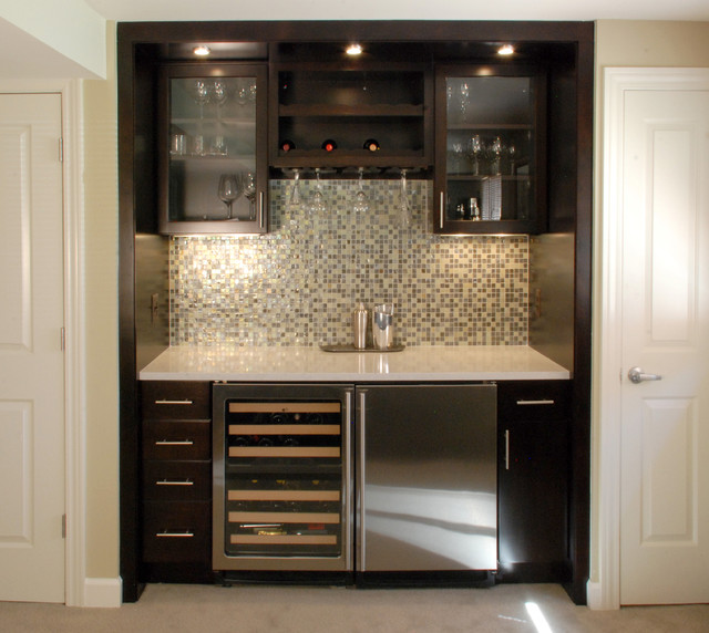 Wet Bar Contemporary Family Room detroit by