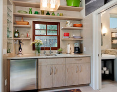 Wet Bar with tiled niche for glassware and floating shelves eclectic kitchen