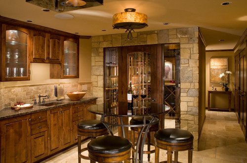 Pub table in wine room cellar, perfect for sipping wine and sitting