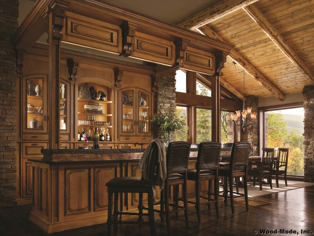 Wood Mode Mountain Retreat Bar Traditional Home Bar Houston By Cabinets Designs