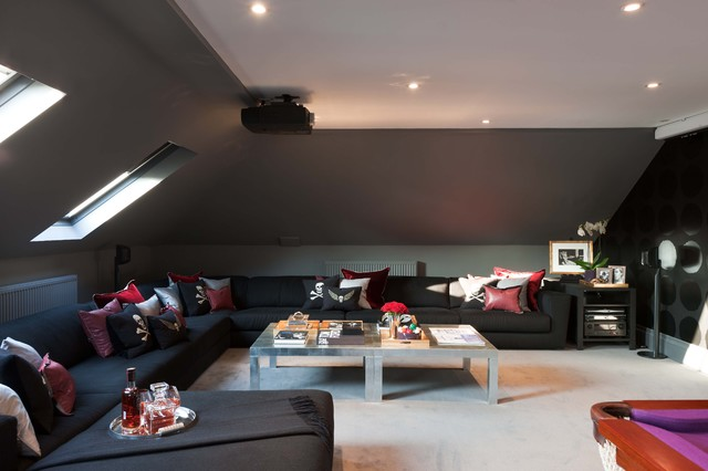 attic paint color ideas - MPD London Modern Home Theater london by MPD London