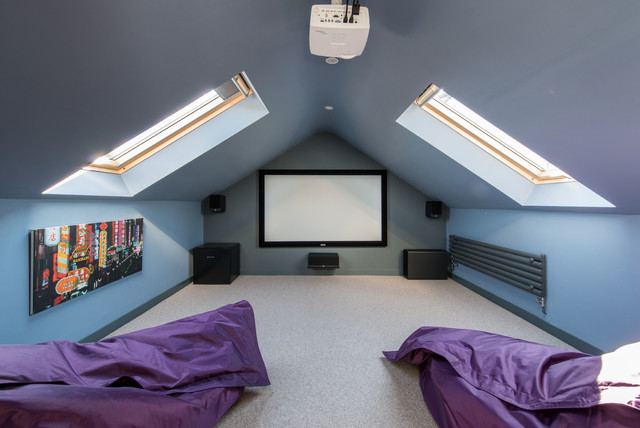 Cinema Room In The Roof Contemporary Home Cinema Other By Wighton Architects Houzz Uk