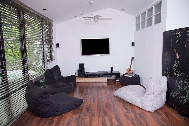 converted loft entertainment room contemporary home cinema