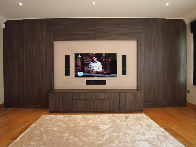 Dual Purpose TV And Cinema Room, Wenge Wall And Cabinet, Surrey Modern Home