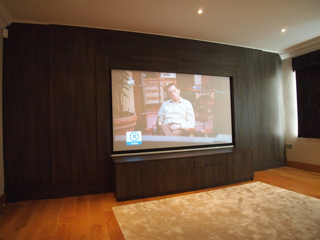 Dual purpose TV and Cinema room, Wenge wall and cabinet, Surrey - Modern - Home Theater - south ...