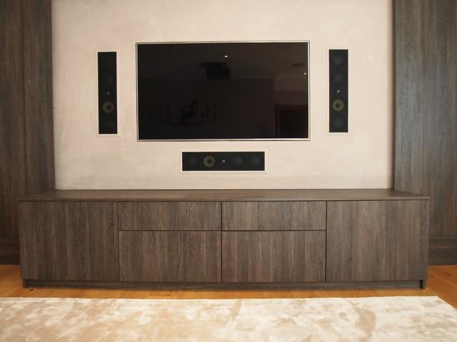 Dual Purpose TV And Cinema Room, Wenge Wall And Cabinet, SurreyModern Home  Theatre, Surrey