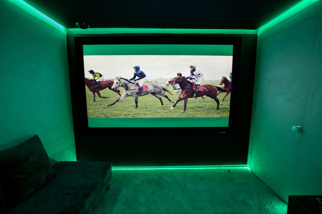 Green LED Light Contemporary Home Cinema London By Finite Solutions