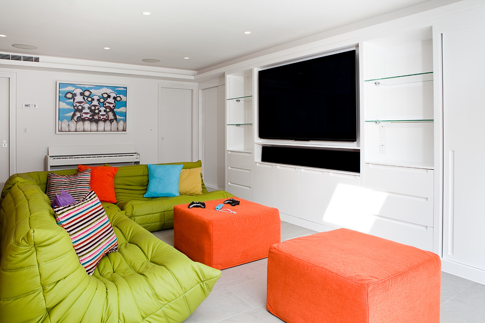 Trendy home theater photo in London with white walls