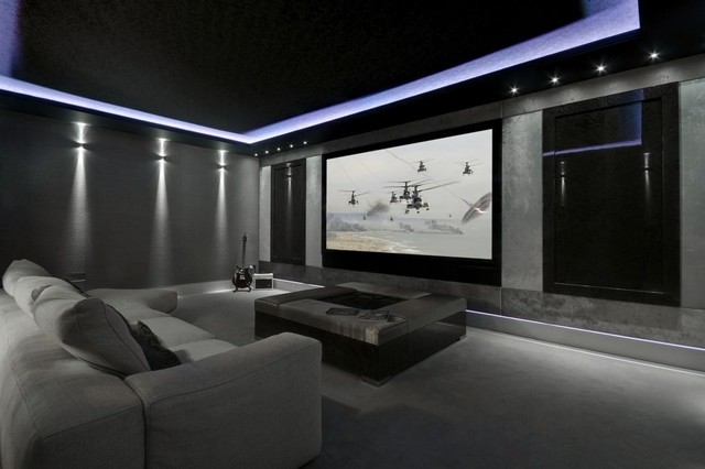 Example Of A Minimalist Home Theater Design In Manchester