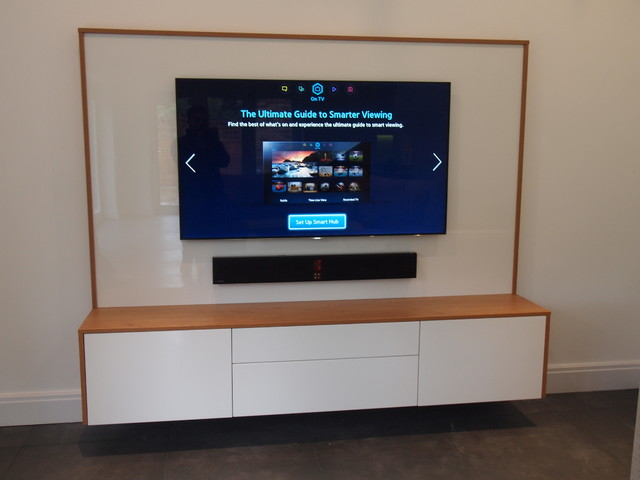 ... Simple But Effective Floating AV Cabinet Contemporary Home
