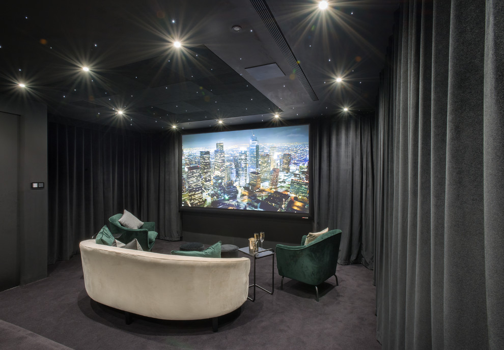 Home theater - contemporary enclosed carpeted and gray floor home theater idea in London with gray walls