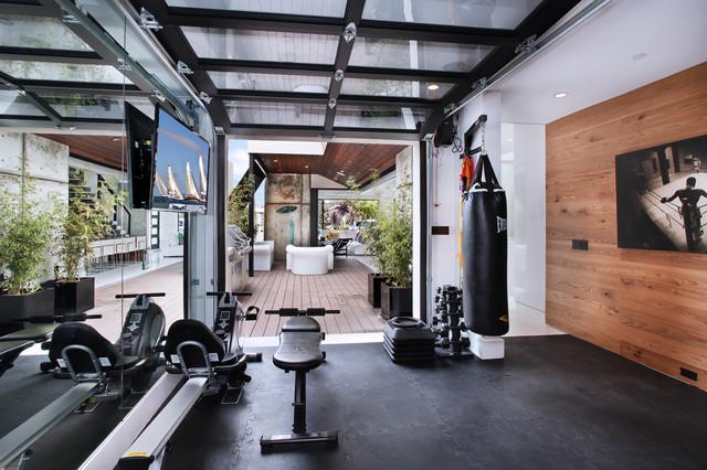 Fitnessraum modern  604 Acacia - Brandon Architects - Patterson Construction http://www ...