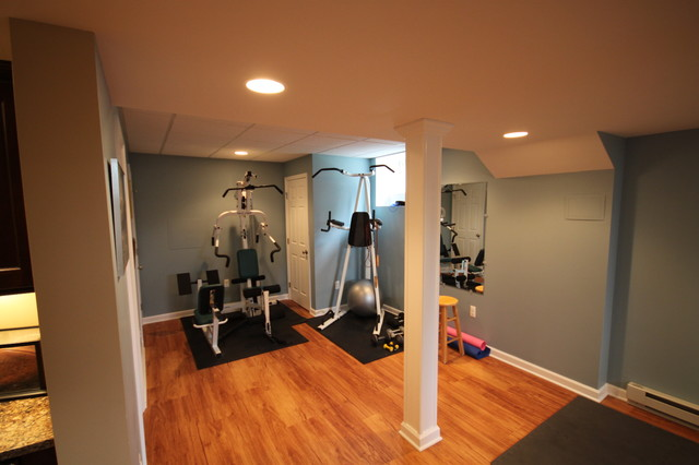 A Fun Basement! traditional-home-gym