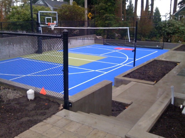 Allweather surface sport court contemporary home gym for Backyard sport court