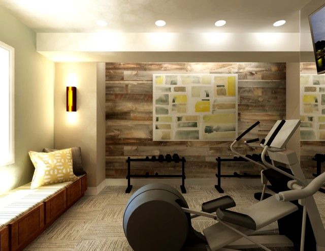 Aurora Classy Home Gym Design Transitional Home Gym