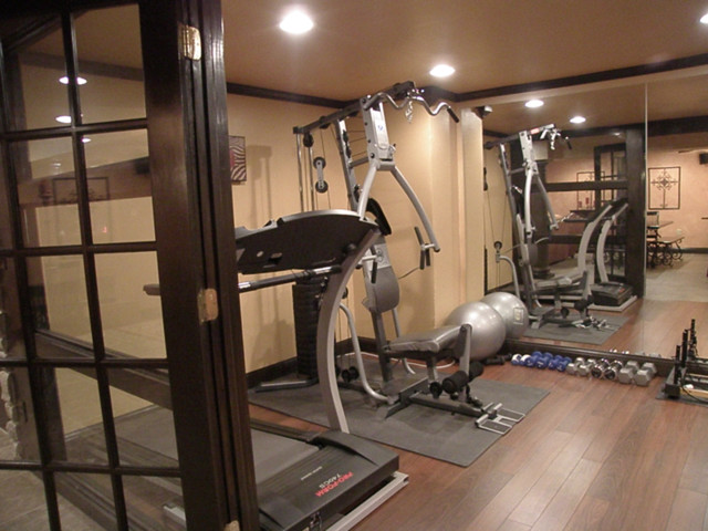 Basement 1 traditional home gym cincinnati by Home gym decor ideas