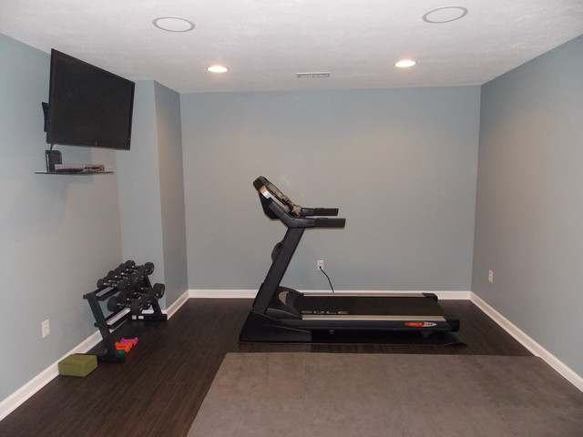 basement exercise room traditional home gym