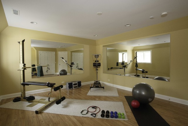 Basement exercise room traditional home gym chicago for Home gym room