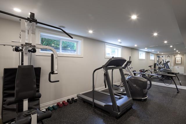 Basement fitness room modern home gym ottawa by