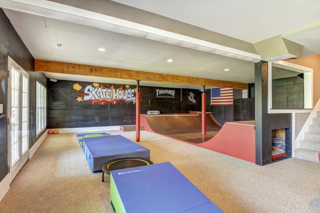 Basement Gym Amp Skatepark Contemporary Home Gym Charlotte