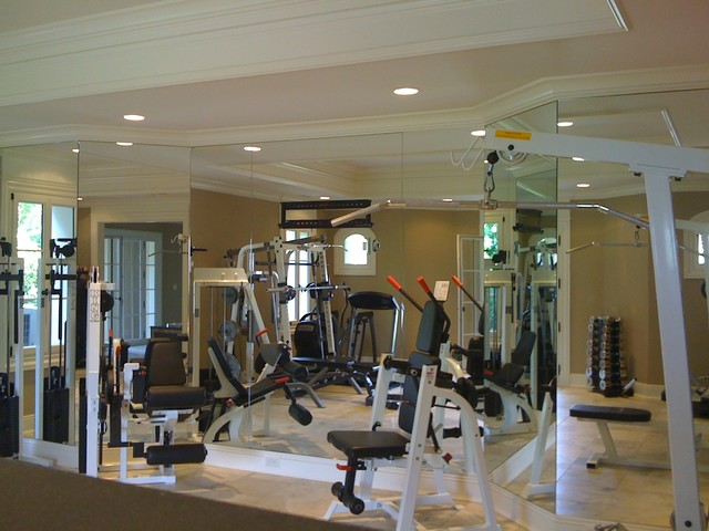 Basement gym mirrors modern home gym new york by for Used gym mirrors