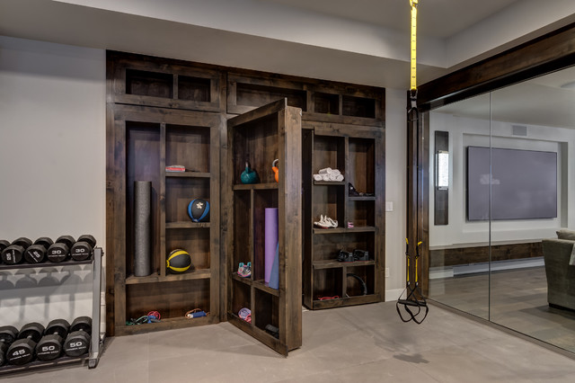 Basement Gym With Hidden Bookcase Open Contemporary Home Gym