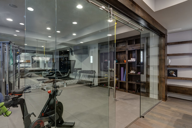 home gym decorating ideas with glass wall | Basement Gym Workout with Glass Walls - Transitional ...